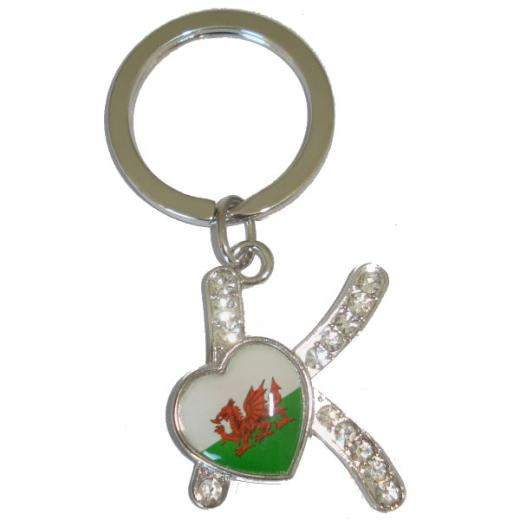 Gold Plated Welsh Daffodil Pewter Keyring