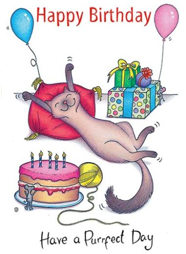 Happy Birthday Have A Purrfect Day The Compost Heap Card 2 40 Welsh Gifts