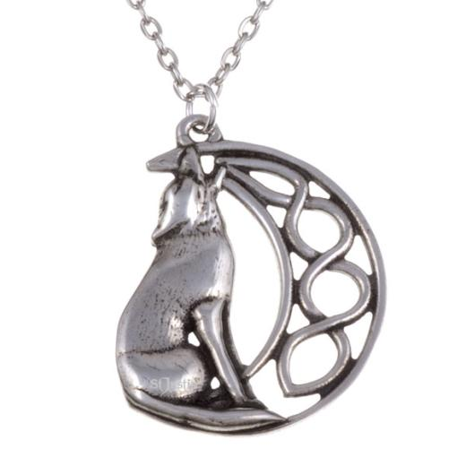 White Wolf Water Reflection Pendant Silver Chain Necklace Jewellery Wolves UK